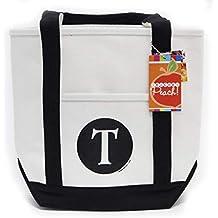Teacher Peach Monogram Canvas Tote Bags (11 Letters Available)