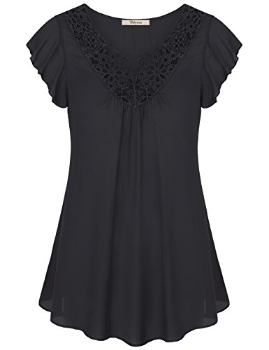 eve Tops, Ladies Ruffle Sleeve Flower Cut A Line Swing T Shirt For Women Black L (Flutter Cap Sleeve Tunic Top)