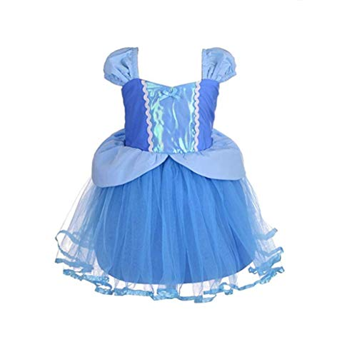 FEESHOW Toddler Baby Girls Rapunzel/Cinderella/Little Mermaid Princess Dress up Costumes Halloween Birthday Party Outfit Sky Blue 18 -