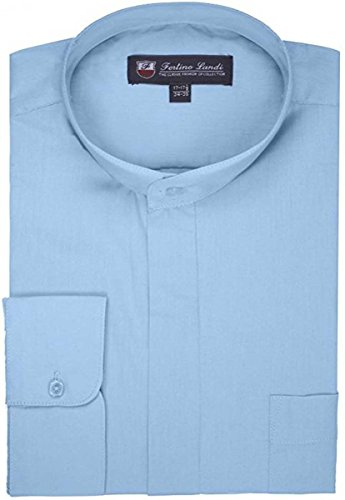 - FORTINO LANDI Men's Long-Sleeve Banded Collar Shirt - Light Blue 2XL(18-18.5 Neck) Sleeve 36/37