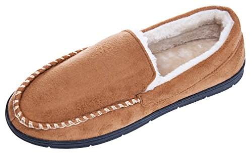 MIXIN Men's Casual Indoor Outdoor Memory Foam Plush Lined Anti-Skid Slip on Moccasins Slippers Shoes