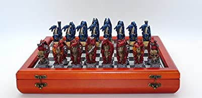 Dragon's Keep - Justice vs. Evil Painted Resin Chessmen on Cherry Stained Chest