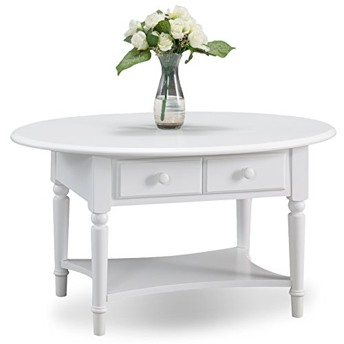 Leick 20044-WT Coastal Oval Coffee Table with Shelf,