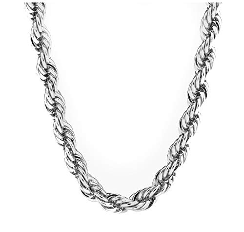 Gold Chain Necklace [ 7mm Diamond Cut Rope Chain ] 20X More 18k White Gold Plating Than Other Chains - The Look & Feel of Pure Solid Gold - Free Lifetime Replacement 20