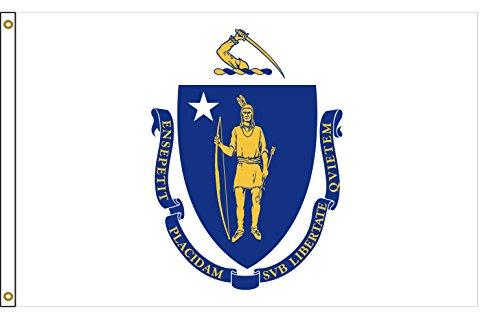 - Flags Poles And More Massachusetts 3'x5' Nylon State Flag 3ftx5ft