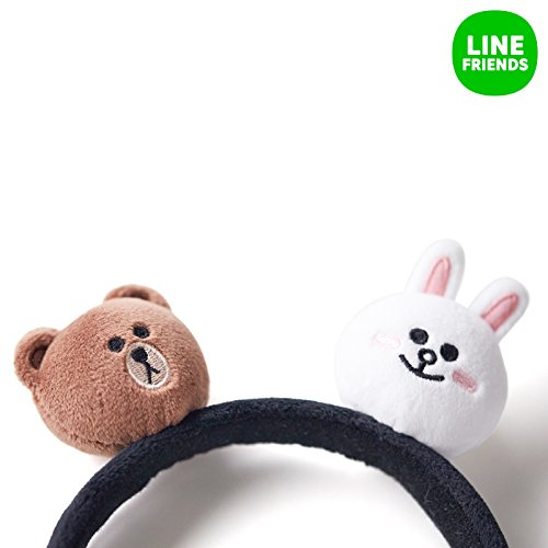 LINE FRIENDS Brown And Cony Head Band With Face Plush Dolls One Size Black