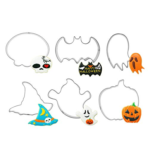 Flowerherd Halloween Cookie Cutters & Cake Pattern Mold Set - 12 Piece - Pumpkin Witch Hat Skull Ghost Bat Specter - Heavy duty Stainless Steel