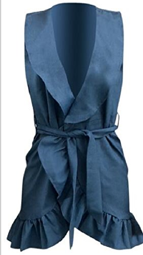 Jaycargogo Femmes Sexy Manches Encolure En V Wrap Denim Mini Robes Bleu