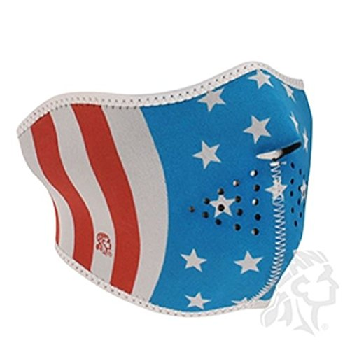 Patriotic USA Stars & Stripes Flag Glow in Dark Neoprene Face Mask Biker Ski by ZIZI SPORTS SUPPLY