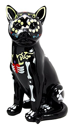 Day of The Dead Feline Bone Skull Cat Kitty Skeleton Decorative Figurine 11.25 H