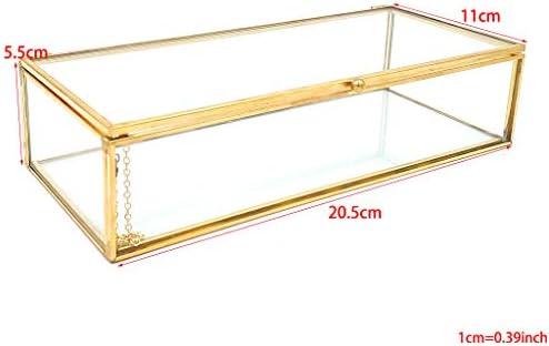siwetg - Caja de cristal con tapa de color dorado, para recuerdos ...