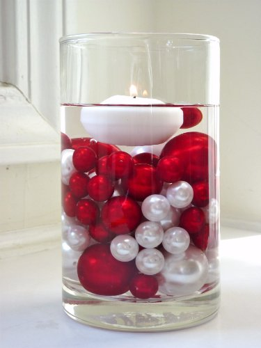 40 Floating Unique Christmas Holiday Jumbo/Assorted Sizes Green, White Pearls, Red, Green and Sparkling Gems Vase Fillers for Decorating Centerpieces + Free Transparent Water Gels Jumbo Packet by Vase Pearlfection (Image #2)