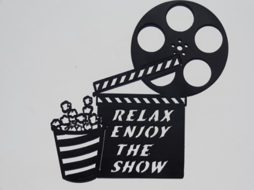 JNJ Metalworks Clapboard, Movie Reel Relax Enjoy the Show Home Movie Theater Decor Metal Wall Art