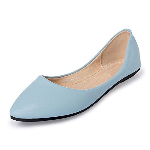MAIERNISI JESSI Women's Pointed Toe Ballet Flat Cute Casual Comfort Shoes Light Blue 41 - US 9