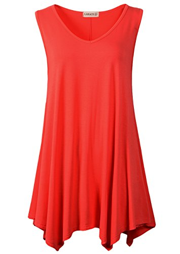 aaa3e75d4ea LARACE Women V-Neck Tank Top Tunic for Leggings(L, Red) available in ...