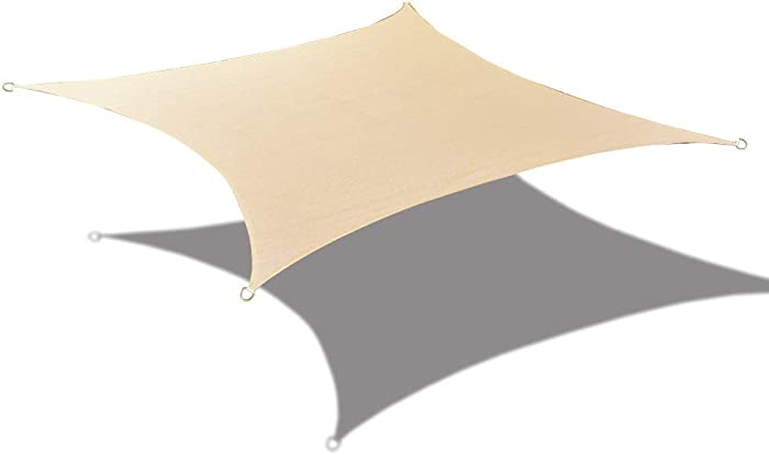 Alion Home HDPE UV Block Curved Edge Sun Shade Sail Permeable Canopy - Square and Rectangle - Custom 185GSM (14' x 10', Banha Beige)
