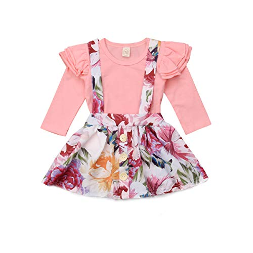 0509b5b9430f Treafor Baby Girl Suspender Skirt Outfit Toddler Baby Girls Strap Suspender  Skirt Overalls Dress Outfit