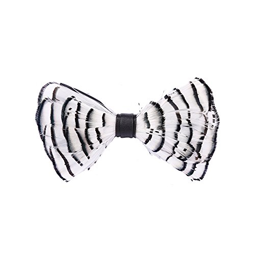 Mens Bowtie Pure Natural Feathers Wedding bowtie Leather Fashion Nicktie Pre Tied Adjustable Bow Ties (white) by DURUI