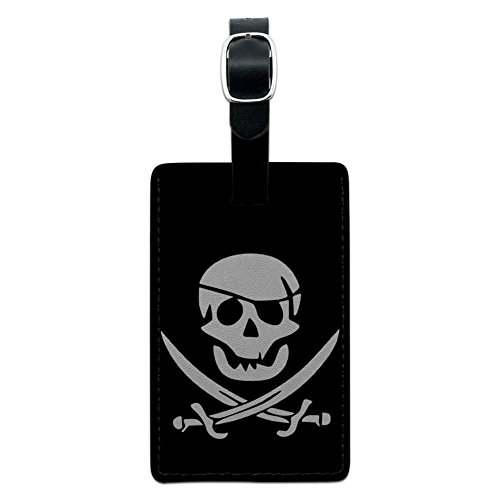 Graphics & More Pirate Skull Crossed Swords Leather Luggage Id Tag Suitcase Carry-on, Black