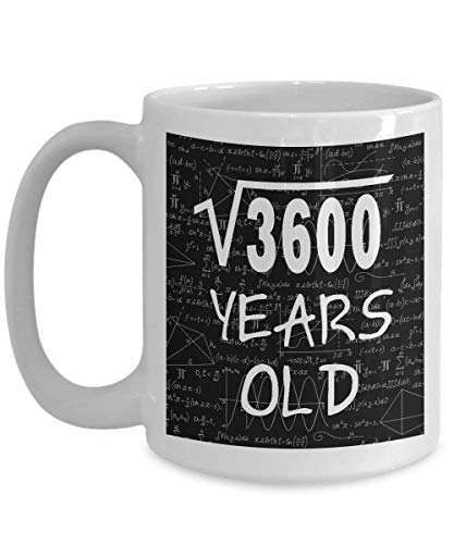 Math Formula Mug 11 OZ - Funny Math Gifts For Teachers, Students - Square Root Of 3600-1958, 60 Year Old Birthday - 60th Birthday Gifts For Women Funny Mom, Her on Mother's Day - Ceramic Coffee Cup