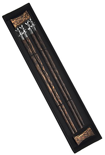 Amazing Grace Palm Wood Metallic Animal Chopsticks Gift Set (Silver Rabbit)