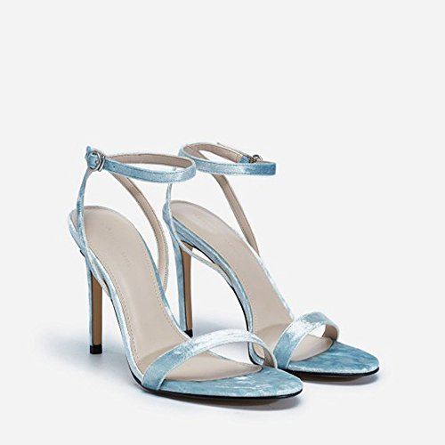 Hebilla Tacón de High Pequeños de de Sandalias de Placa Zapatos los Tobillo Pavo Azul Hilado con de Dedos 2018 pies los 10cm Heeled Verano de real Real placa ZHANGYUSEN pavo Arrugas Qing azul Zapatos 34 luz Luz 1nvnBZ