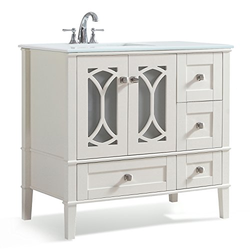 Simpli Home Paige 36 inch Bath Vanity with White Quartz Marble Top Soft White