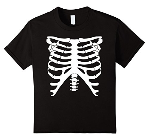 [Kids Halloween Skeleton Glow In The Dark Costume T-Shirt 8 Black] (Glow In The Dark Skeleton Costumes)