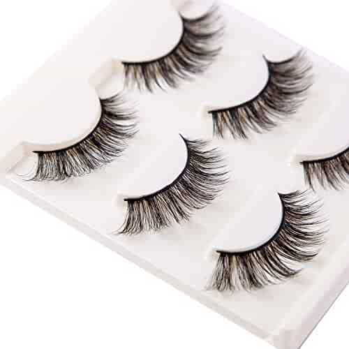 3D False Eyelashes Extension 3Pairs Long Lashes With Volume for Women's Make Up Handmade Soft Fake Eyelash