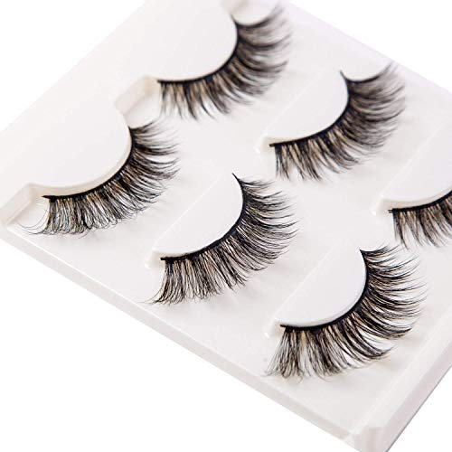 3D False Eyelashes Extension 3Pairs Long Lashes With Volume for Women's Make Up Handmade Soft Fake ()