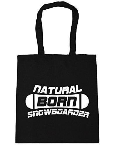 HippoWarehouse Natural Born Snowboarder Tote Compras Bolsa de playa 42cm x38cm, 10litros negro