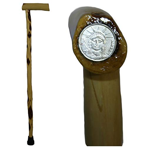 29-inch Short Wooden Cane with Statue of Liberty Carnival Token Inlaid in Handle - Diamond Willow Wood - Handcrafted in America - MAX WT 150 Lbs ()