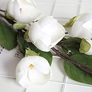 Alelife New Artificial Fake Silk Flower Leaf Magnolia Floral Wedding Bouquet Party Centerpieces Bridal Party Home Room Decor (White) 2