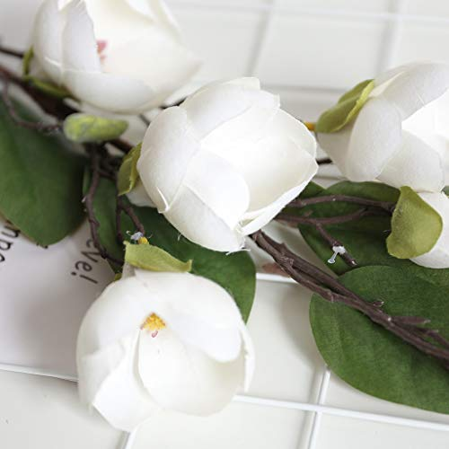 YunZyun New Artificial Silk Flower Artificial Leaf Magnolia Floral Bouquet for Wedding Party and Home Decor (White) ()