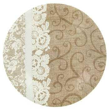 Amazon.com: Burlap & Lace Paper Plates (Lunch Size Plates): Health ...