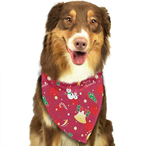 CZSJzd Red Christmas Bell Snowman Lollipop Fashion Dog Bandana Pet Accessories Easy Wash Scarf