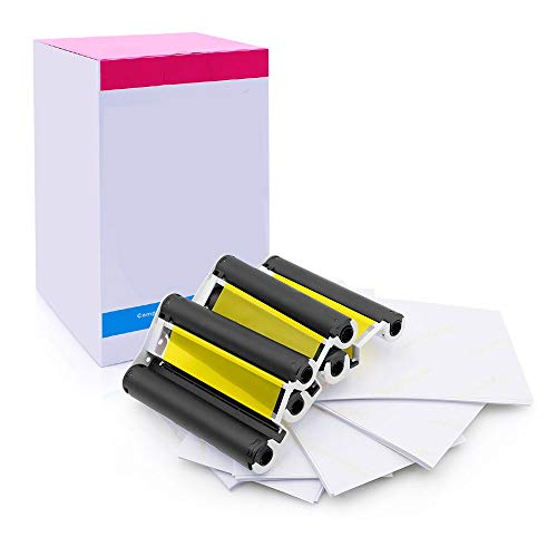 Replacement for Cannon cp1300 Photo Paper 3 Color Ink Cassette 108 Sheets 4 x 6 inch Paper Set KP-108IN Compatible with Canon SELPHY CP800, CP1200, CP900