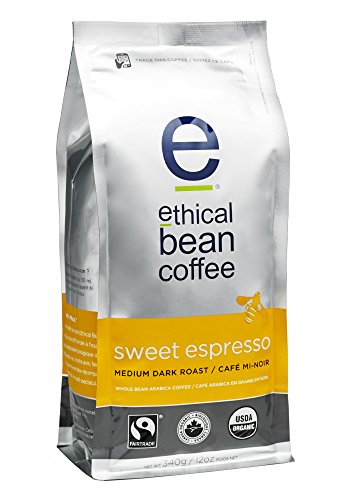 Ethical Bean Coffee Sweet Espresso: Medium Dark Roast Whole Bean- USDA Certified Organic Coffee, Fair Trade Certified – 12 ounce bag