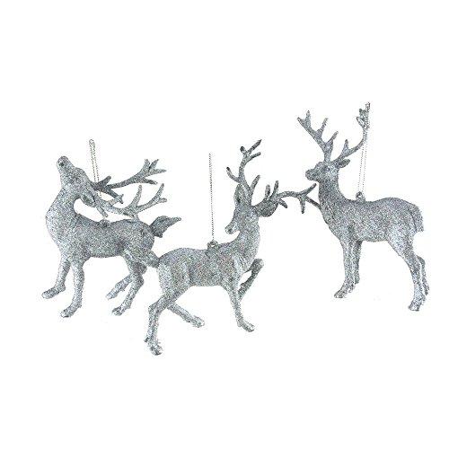 Homeford Christmas Plastic Glitter Reindeer Ornaments, 6-Inch, 3-Piece (Reindeer Silver Glitter)
