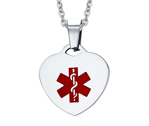 Women's and Men's Stainless Steel Heart-shaped Medical Alert ID Pendant Necklaces with 24