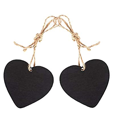 Bestgle Mini Heart Shaped Chalkboard Decorative Signs with Hanging String, 2.6 x 2.4 inch Natural Wooden Double Sided Memo Tags Message Labels for Wedding Birthday Party Decor(Pack of 15)