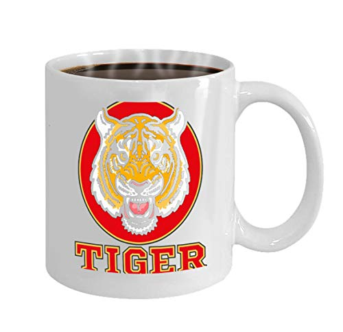 Funny Gifts for Halloween Party Gift Coffee Mug Tea angry tiger head icon wild japan background red cir -
