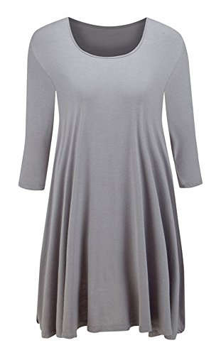 Taydey Womens 3 4 Sleeve Round Neck Tunic Tops – Large, Gray