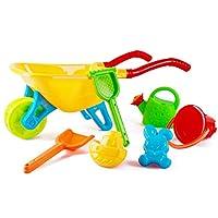 deAO Kids Wheelbarrow Play Set Include Watering Can Spade Rake Bucket Sand Mould