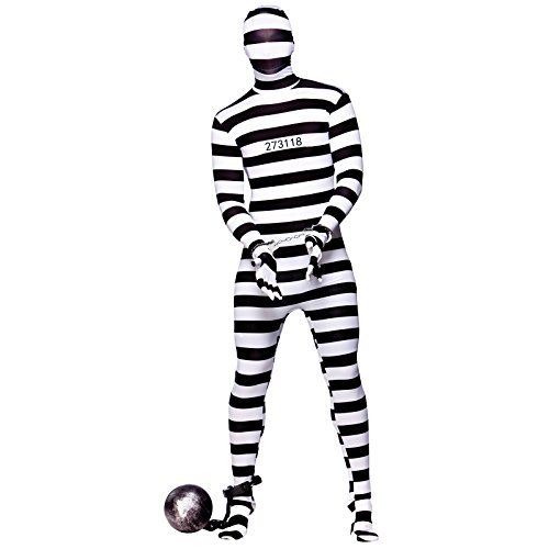 [(S) Adult Convict Skinz Costume for Cops Police Robbers Law Fancy Dress Mens Ladies by Wicked] (Lady Law Costume)