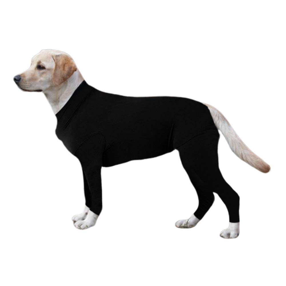 ESHOO Long Sleeves Bodysuit Jumpsuit for Dogs, E Collar Alternative for Recovery,Pet Post Surgery Suit(Black L) by ESHOO