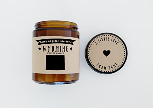 Wyoming Scented Candle Missing Home Homesick Gift Moving Gift New Home Gift No Place Like Home State Candle Thinking of You Valentines Day Gift