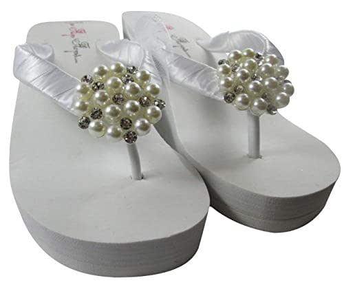 Amazoncom High Or Low Pearl Bridal Flip Flops Handmade-6286