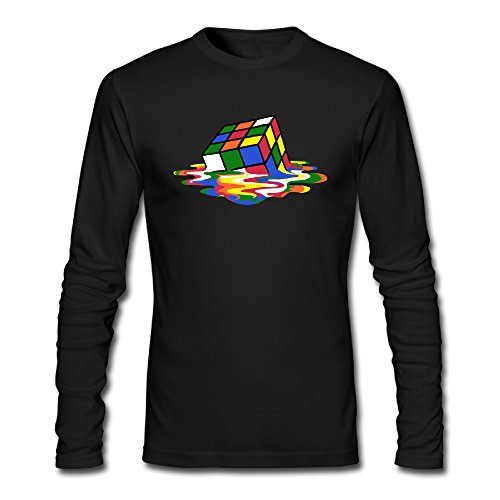 (Rubik's Cube Store569 Mens Long Sleeve Pre-cotton Rubik's Cube T Shirt Cheap Slim Fit)