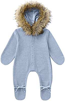 Winter Infant Baby Boy Girl Hooded Romper Jumpsuit Knit Warm Outerwear Clothes